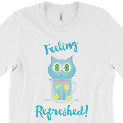 """Feeling Refreshed"" Unisex Cat T-Shirt"