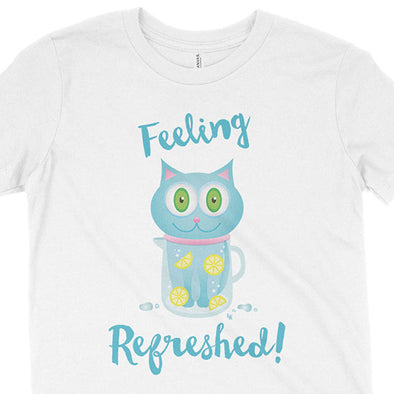 """Feeling Refreshed"" Kids Youth Blue Cat T-Shirt"
