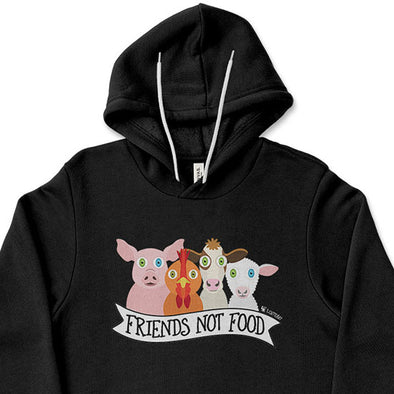 """Friends Not Food"" Unisex Lightweight Fleece Vegan Animals Hoodie Sweatshirt"