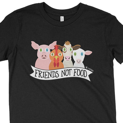 """Friends Not Food"" Vegan Kids Youth T-Shirt"