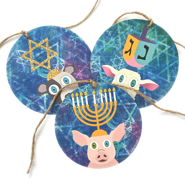 """Hanukkah Yamaka"" Whimsical Animals Holiday Gift Tags"