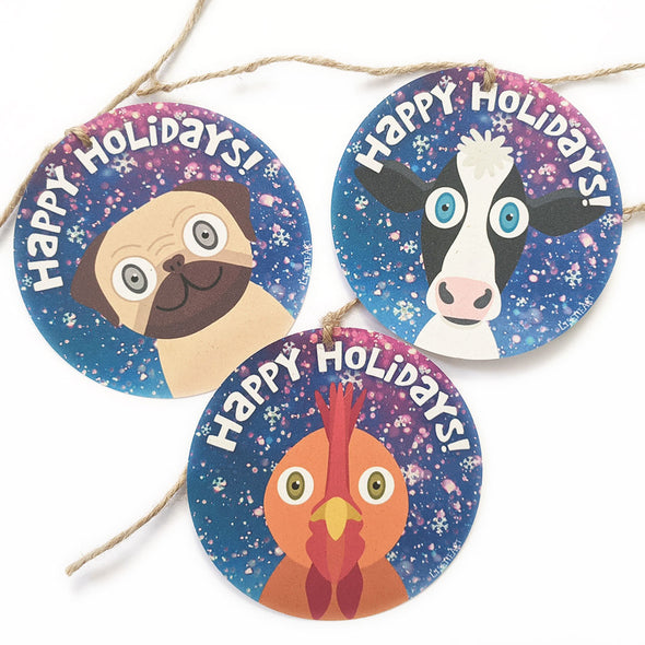 """Happy Holidays"" Whimsical Animals Winter Holiday Gift Tags"