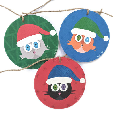 """Meowy Catmas"" Whimsical Santa Cats - Christmas Holiday Gift Tags"