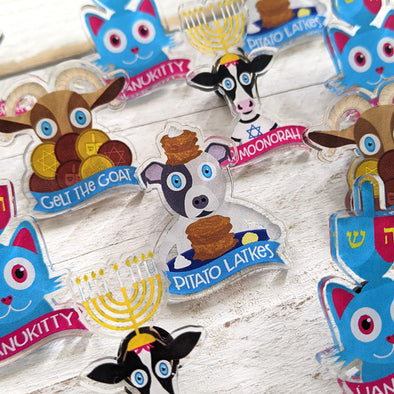 """Pitato Latkes"" Recycled Acrylic Hanukkah Dog Pin"