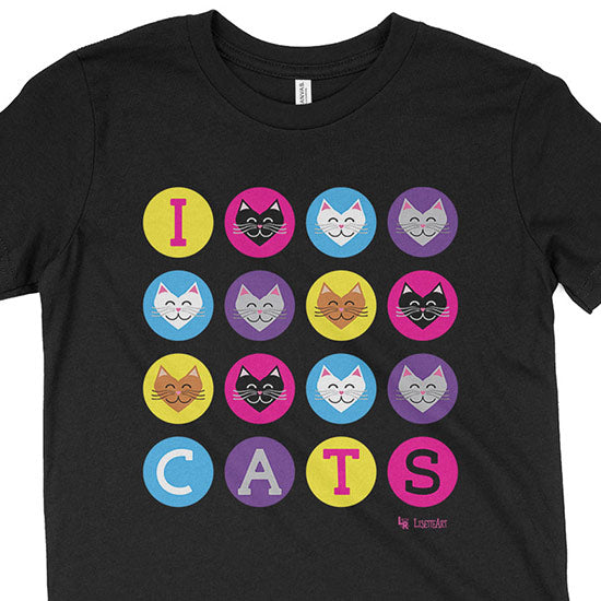 """I 💜 Love 💜 Cats"" Kids Youth T-Shirt"