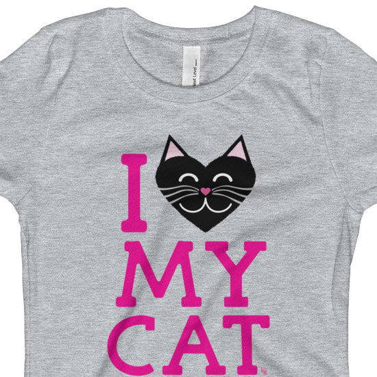 """I Love My Cat"" Girls Fitted T-Shirt"
