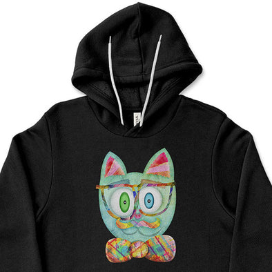 """Intellecat"" Unisex Lightweight Fleece Funky Cat Hoodie Sweatshirt"