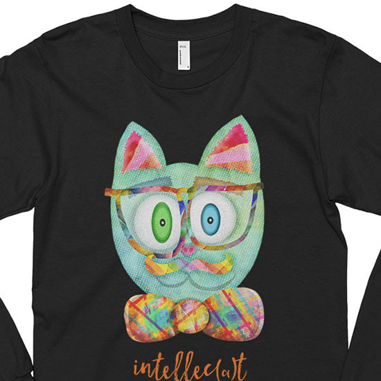 """Intellecat"" Unisex Long Sleeve Funky Cat with Glasses T-Shirt"