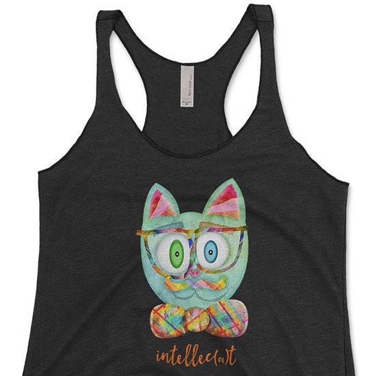"""Intellecat"" Triblend Racerback Funky Cat with Glasses Tank"