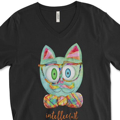 """Intellecat"" Unisex V-Neck Funky Cat T-Shirt"