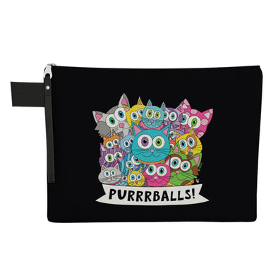 """Purrrballs!"" Large Zipper Pouch - Vegan Cat Clutch"