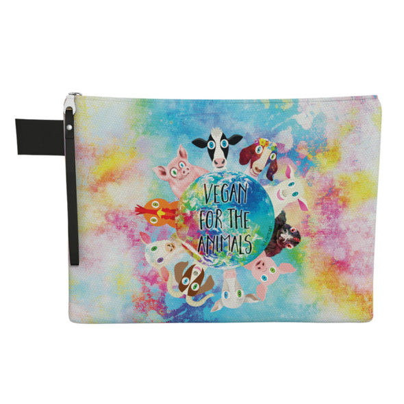 """Vegan for the Animals"" Large Zipper Pouch - Vegan Clutch"
