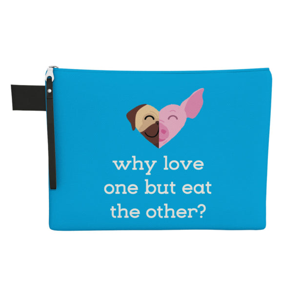 """Why Love One but Eat the Other?"" Large Zipper Pouch - Pug & Pig, Cat & Cow Vegan Clutch"
