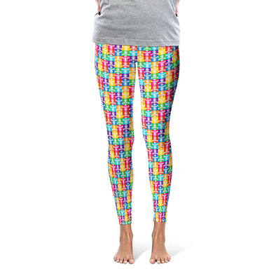 """Don't Have a Cow, Have Tofu!"" (multi-color checker print) Printed Leggings"