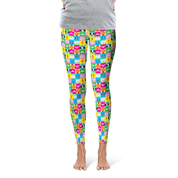 """Love All Animals"" Cow, Pig, Chicken, Lamb Printed Leggings"