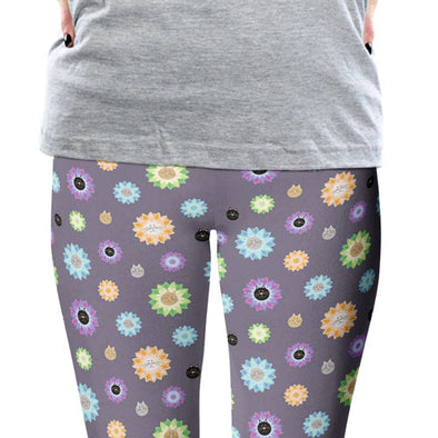 """Purrrfect Flowers"" Cat Printed Leggings"