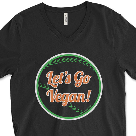 """Let's Go Vegan!"" Unisex V-Neck Vegan Baseball T-Shirt"