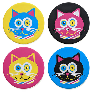 """CMYKat"" 4 Color Cats Coaster Set"