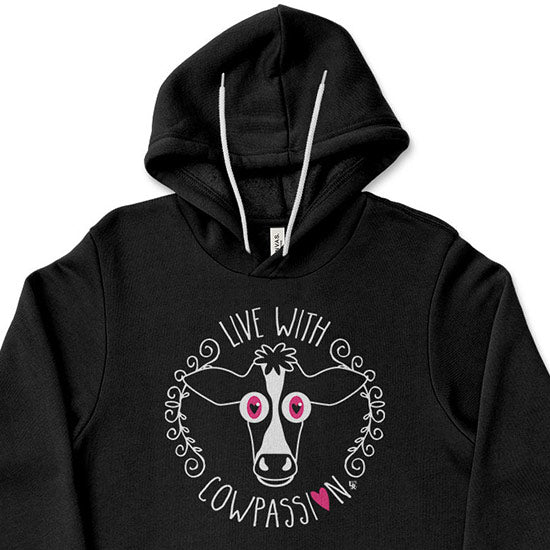 """Live with Cowpassion"" Unisex Lightweight Fleece Vegan Cow Hoodie Sweatshirt"