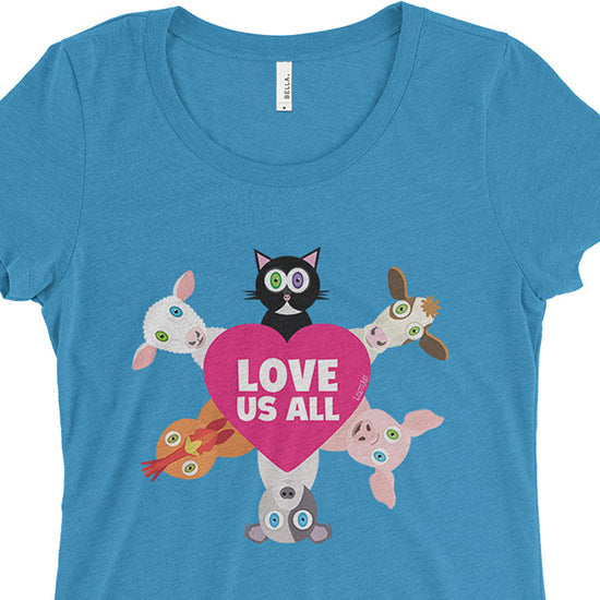 """Love Us All"" Junior Fitted Vegan Animal Lovers T-Shirt"