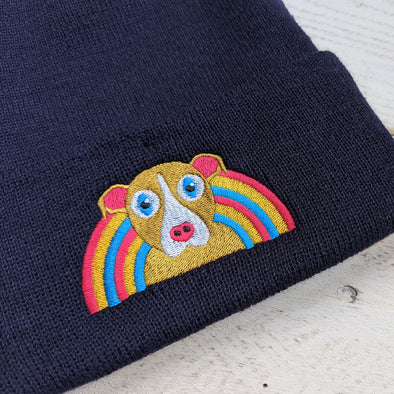 Dog with Rainbow - Cuffed Beanie Hat