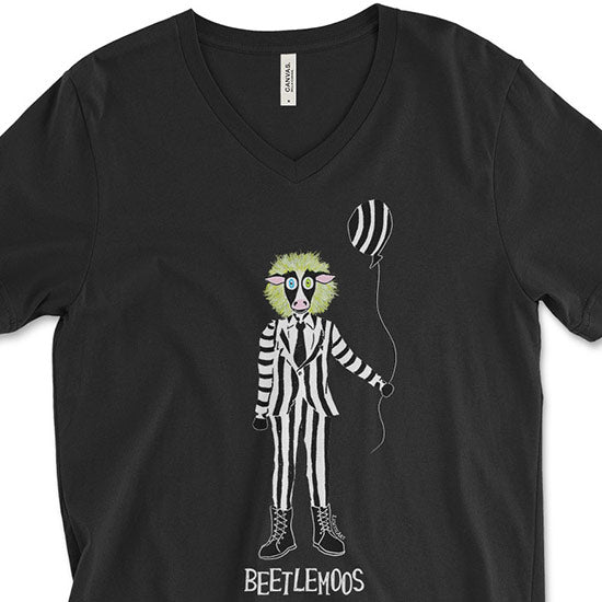 """Beetlemoos"" Halloween Cow Unisex V-Neck T-Shirt"
