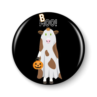 """Trick or Treat"" Ghost Cow and Sheep Halloween Pinback Button"