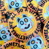 """We All Go a Little Nuts Sometimes"" Large Round Monster Squirrel Halloween Pinback Button"