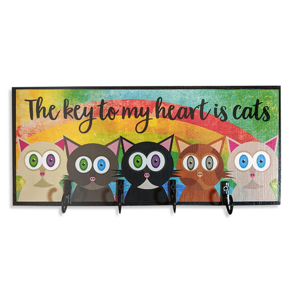 """The key to my heart is cats"" Whimsical Cat Art Key Holder"