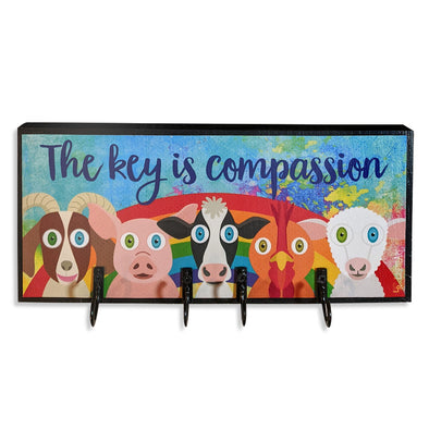 """The key is compassion"" Whimsical Vegan Animals Key Holder"