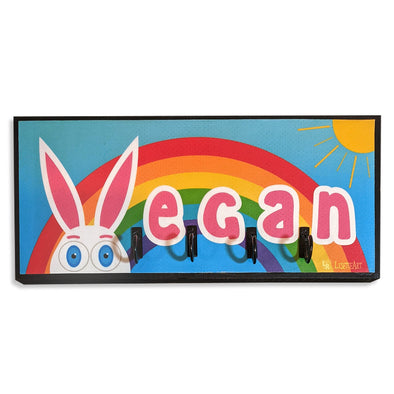 """Vegan"" Rainbow Bunny Rabbit Vegan Key Holder"