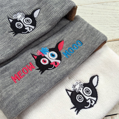"""Meow Mooo"" Cuffed Beanie Vegan Cat and Cow Hat"