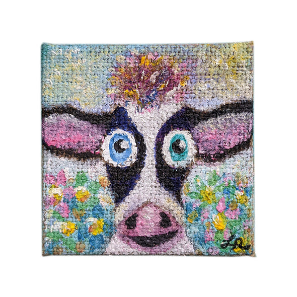 Original Mini Cow Portrait Painting on Canvas, Vegan Art, Tiny Animal Painting