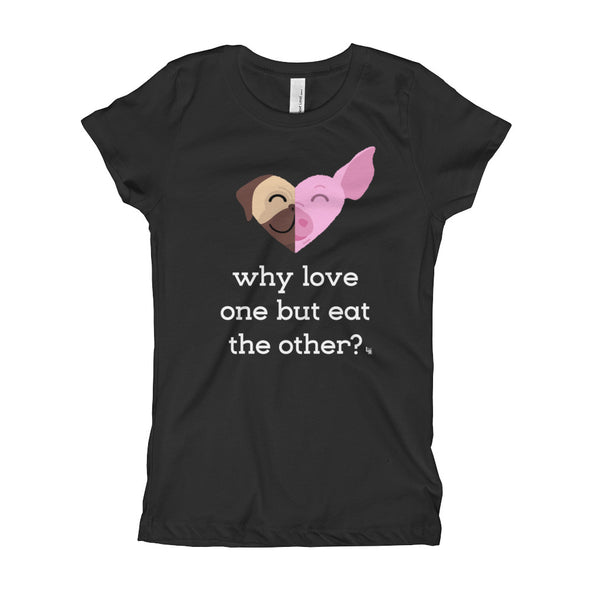"""Why Love One but Eat the Other? - Pug & Pig"" Girl's Vegan T-Shirt"
