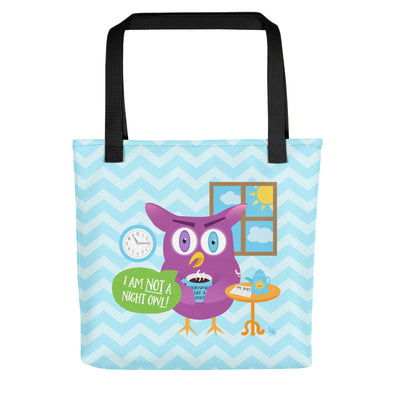 """Mornings Are a Hoot - I Am Not a Night Owl!"" Full Color Tote Bag"