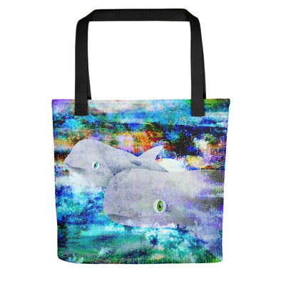 """Blue Cove"" Risso Dolphins Full Color Tote Bag"