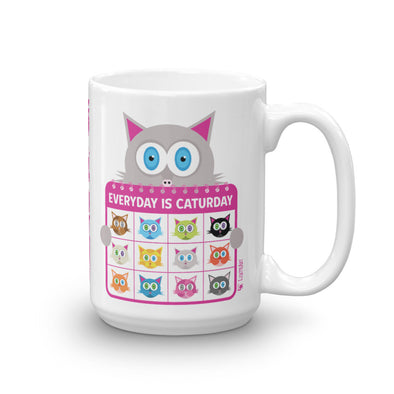 """Everyday is Caturday"" Large Coffee Cat Mug"