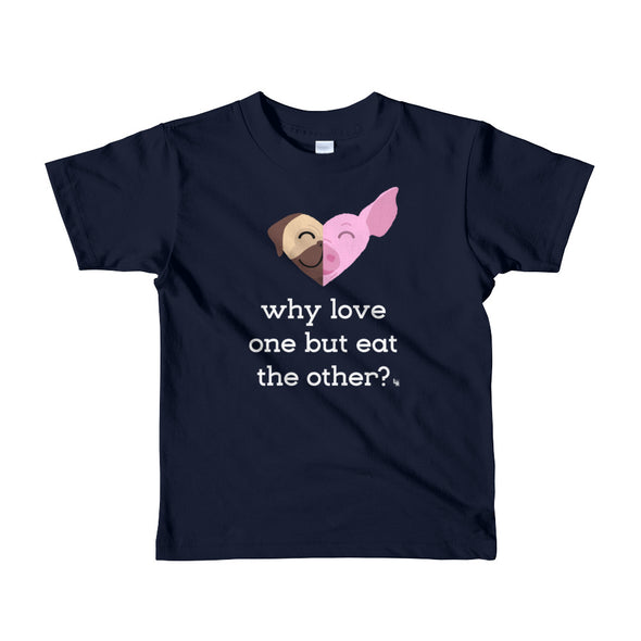 """Why Love One but Eat the Other? - Pug & Pig"" Little Kids Vegan T-Shirt"