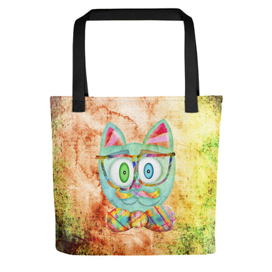 """Intellecat"" Full Color Hipster Cat Tote Bag"