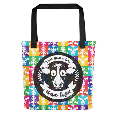 """Don't Have a Cow, Have Tofu!"" (multi-color checker print) Full Color Vegan Tote Bag"