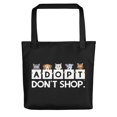 """Adopt, Don't Shop."" Cat and Dog Full Color Tote Bag"