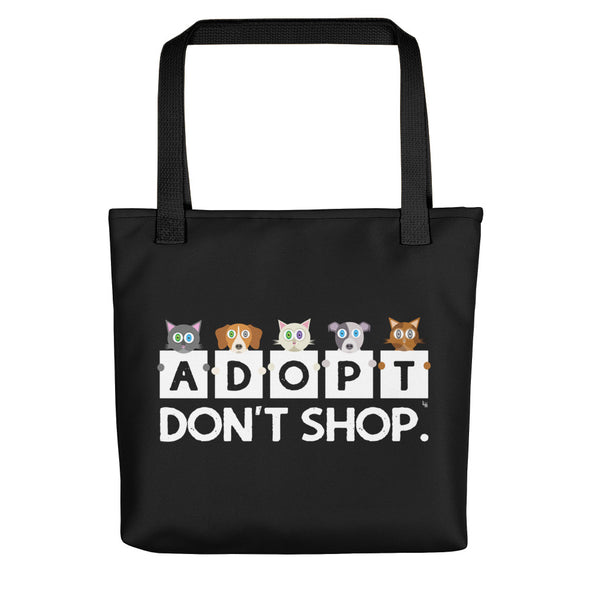 """Adopt, Don't Shop."" Cat and Dog Tote Bag"