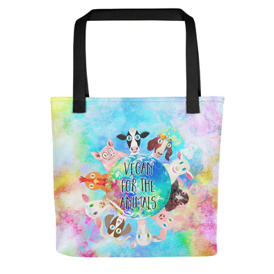 """Vegan for the Animals"" Full Color Double-Sided Tote Bag"