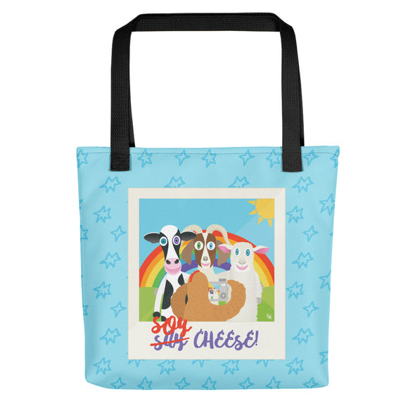 """Soy Cheese"" Full Color Double-Sided Vegan Tote Bag"