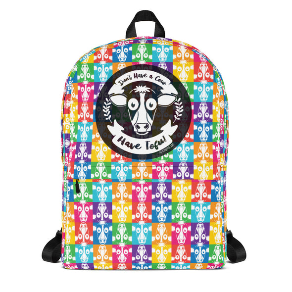 """Don't Have a Cow, Have Tofu!"" (multi-color checker print) Vegan Backpack"