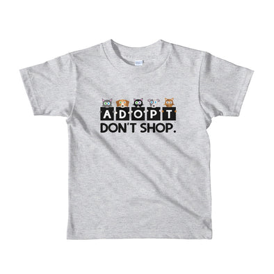 """Adopt, Don't Shop."" Little Kids Cat and Dog T-Shirt"