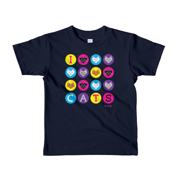 """I 💜 Love 💜 Cats"" Little Kids T-Shirt"