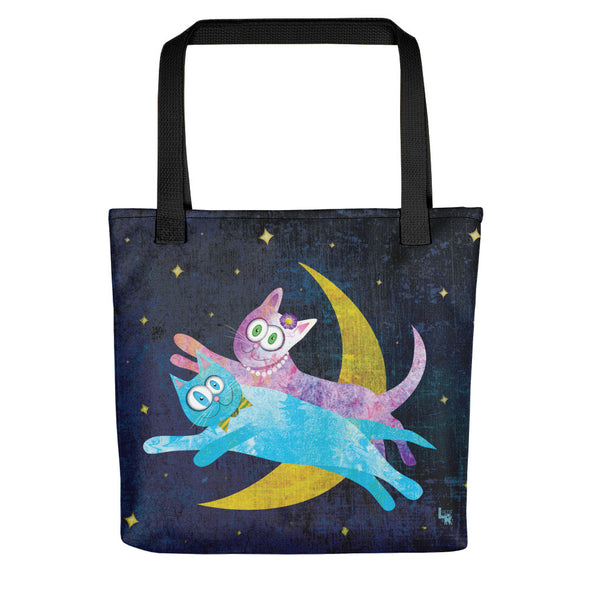 """Cat Lovers Over The Moon"" Full Color Tote Bag"