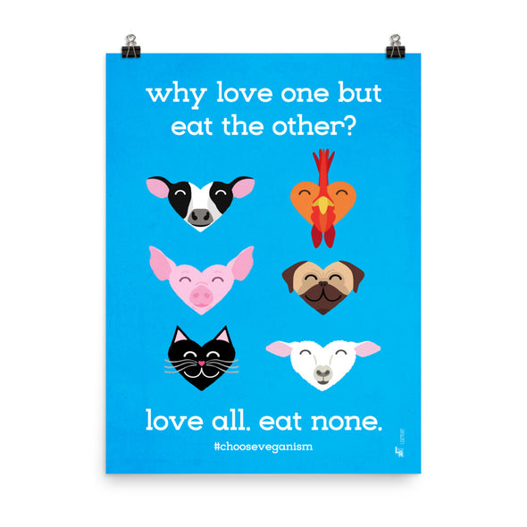 """Why Love One but Eat the Other?"" Vegan Art Poster"