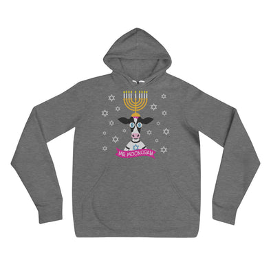 """Mr. Moonorah"" Hanukkah Cow Unisex Lightweight Fleece Hoodie Sweatshirt"